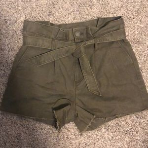 Express olive green high waisted shorts